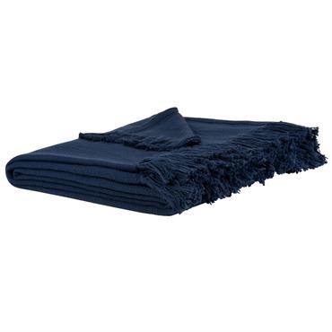Plaid en coton bleu foncé à franges 160x210