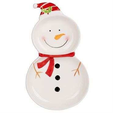 Plat bonhomme de neige en faïence multicolore