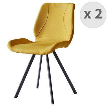 HALIFAX-Chaise indus tissu curry pieds noir brossé