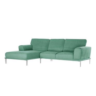 Canapé d'angle gauche 5 places toucher coton mint