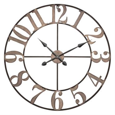 Horloge en métal noir effet blanchi D80