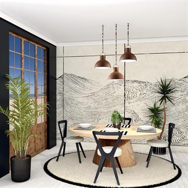 Une salle à manger ambiance « bord de mer » tout en conservant le style contemporain et élégant des propriétaires.  Domozoom