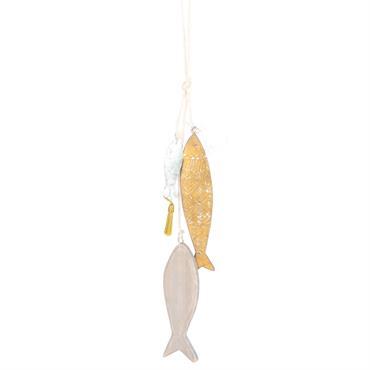 Déco poissons à suspendre en métal doré