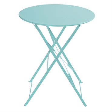 Table de jardin pliante en métal turquoise D58 Confetti