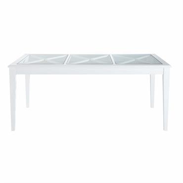 Table à manger en pin blanc et verre trempé 8 personnes L180 Newport