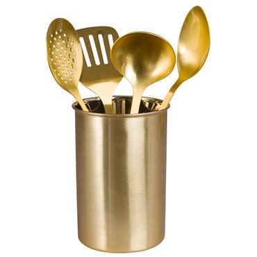 Pot avec 4 ustensiles en acier doré