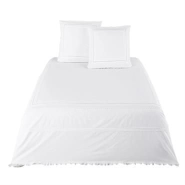 Parure de lit en percale de coton blanc brodé et en crochet 220x240