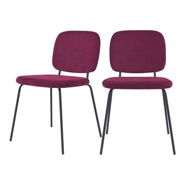 Chaise en velours côtelé prune