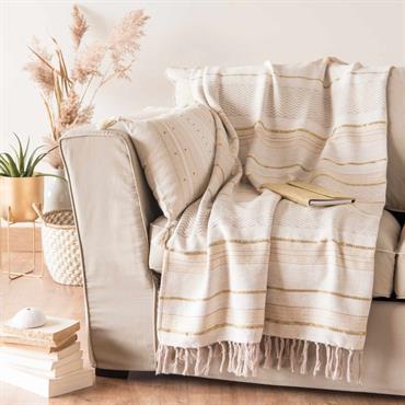Plaid en coton motifs à rayures 160x210