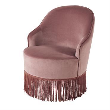 Apportez un peu de poésie à votre pièce de vie grâce au fauteuil vintage en velours rose à franges SALLY . Vous allez adorer son toucher velours et sa teinte ...