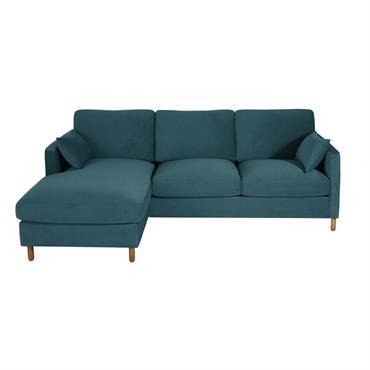 Canapé d'angle gauche convertible 5 places en velours bleu paon