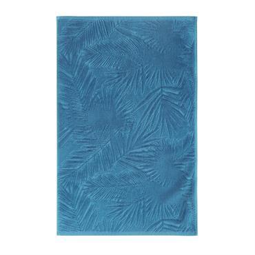 Tapis de bain en velours dévoré bleu motifs pois brodés 50x80