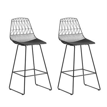 Lot de 2 chaises noires en acier