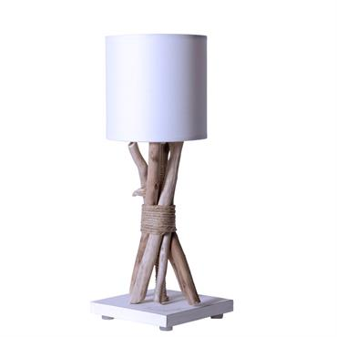 Lampe de chevet en bois blanc