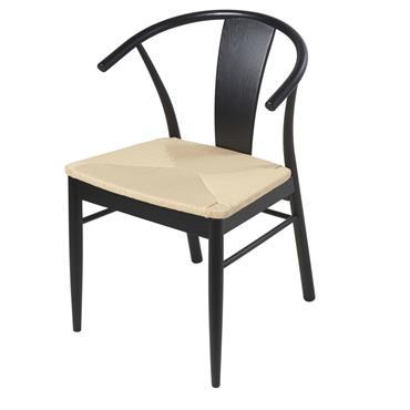 Chaise en corde en papier tressé et chêne massif noir Hilda