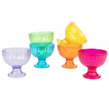 6 coupes de glaces en plastique multicolore