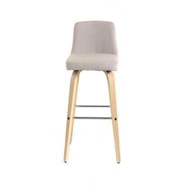 Chaise de bar piètement plaqué chêne h 77 cm  beige