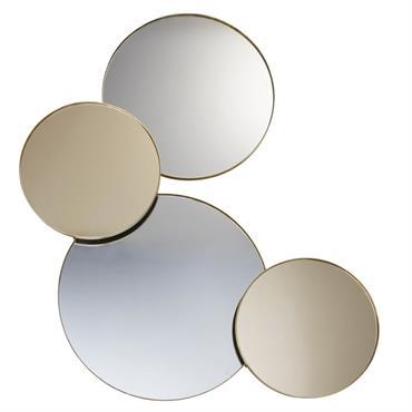 4 miroirs fumés et cuivrés en métal doré 103x116