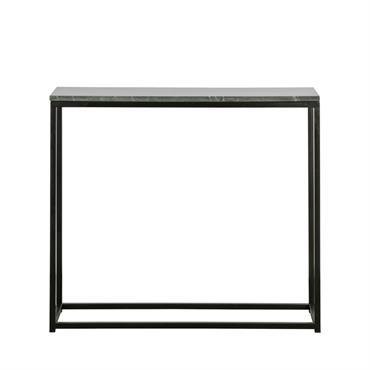 Bout de canapé en métal et marbre 90x30cm noir