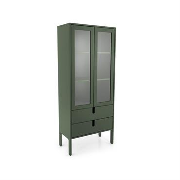 Armoire double portes vitrées et tiroirs Vert