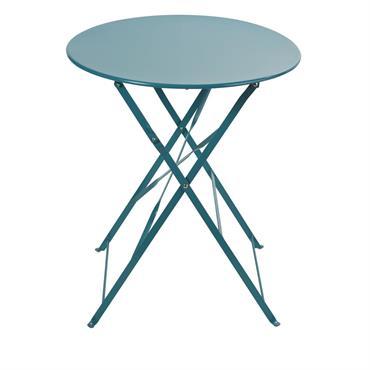 Table de jardin pliante en métal bleu canard 2 personnes D58 Guinguette