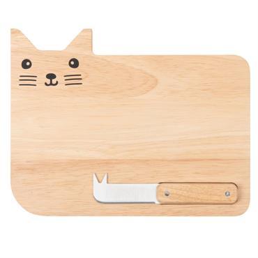 Planche à fromages chat en hévéa
