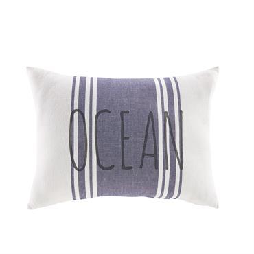 Coussin en coton bleu et blanc 35x50