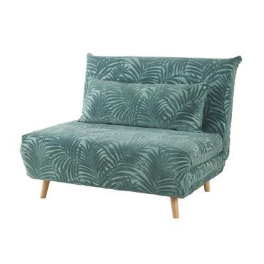 Banquette convertible en velours vert motifs palmiers Nio