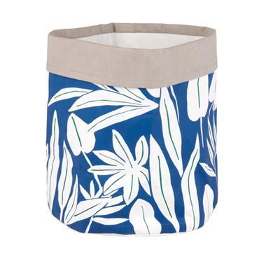Cache-pot gris et bleu imprimé feuillages blancs H22