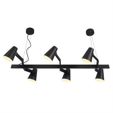 Suspension noire 6 lampes