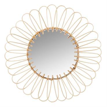 Miroir rond en rotin D35