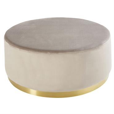 Pouf rond en velours beige