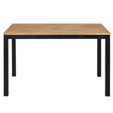 Table de jardin en acacia massif et métal noir 4/6 personnes L120 Oural