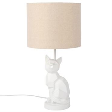 Lampe chat et abat-jour blanc