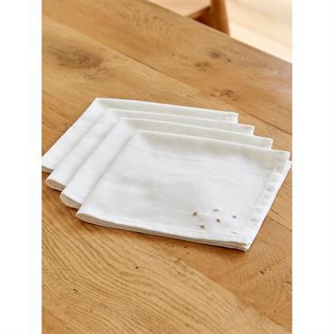 Serviette de table coton/lin par lot de 4 blanc broderies dorées