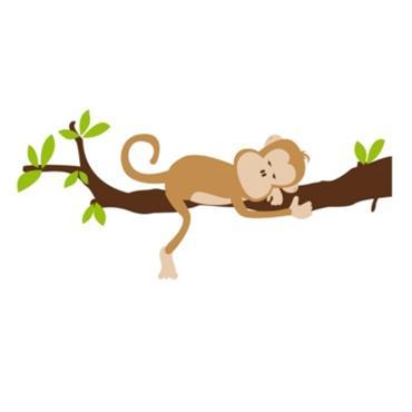 Sticker découpé à la forme, sans fond ni bords (blancs ou transparents).Planches de stickers à assembler. Livré en kit (le singe / la branche / les feuilles)Dimension du sticker assemblé ...