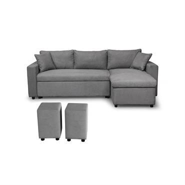 Canapé d'angle gris réversible et convertible avec coffre et poufs