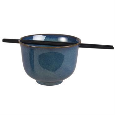 Bol à riz en faïence bleue