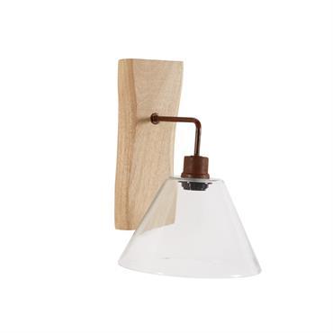 Applique en verre et bois H 32 cm CHALET