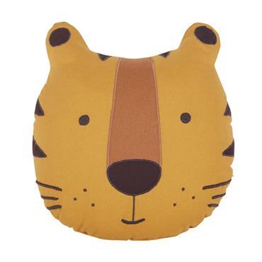 Coussin tigre en coton jaune moutarde