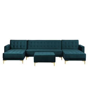 Canapé modulable 5 places en forme de U en velours vert avec pouf
