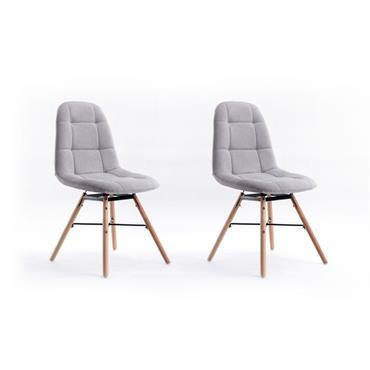 Lot de 2 chaises matelassées en tissu gris