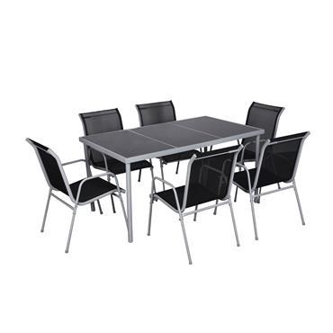 Table de jardin et 6 chaises en acier et textilène gris