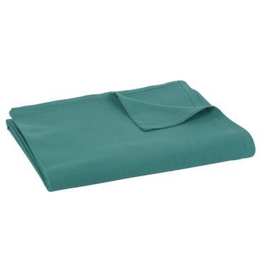 Nappe en coton lavé bleu émeraude 150x350