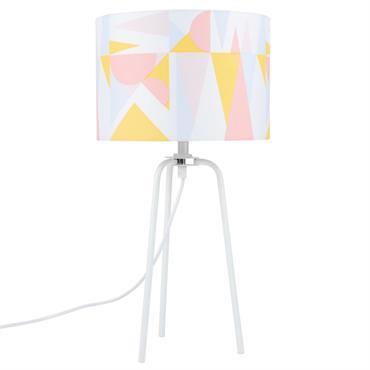Lampe en métal blanc et abat-jour imprimé graphique