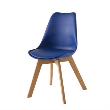 Chaise style scandinave bleu outremer et chêne massif Ice