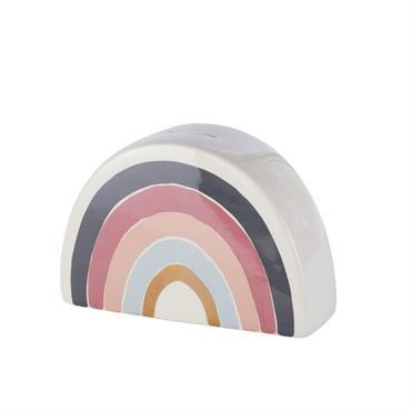 Tirelire arc-en-ciel en céramique multicolore