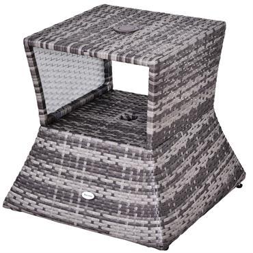 Pied de parasol table basse 2 en 1 résine tressée gris