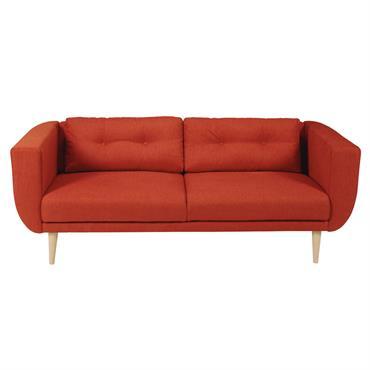 Canapé 3 places en tissu brique Gaby