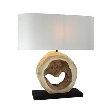 Lampe en bois naturel avec abat-jour ivoire H57cm